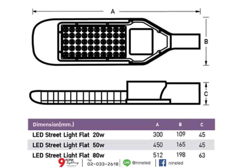 โคมไฟถนน led flat 50w เดย์ไลท์ eve