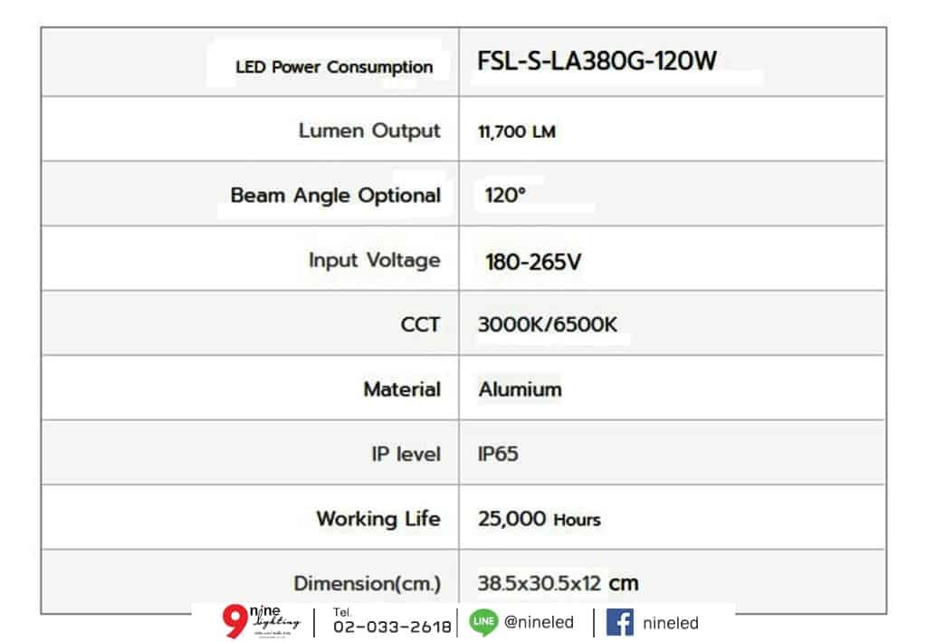โคมไฟถนน LED Street Light 120w (เดย์ไลท์) FSL